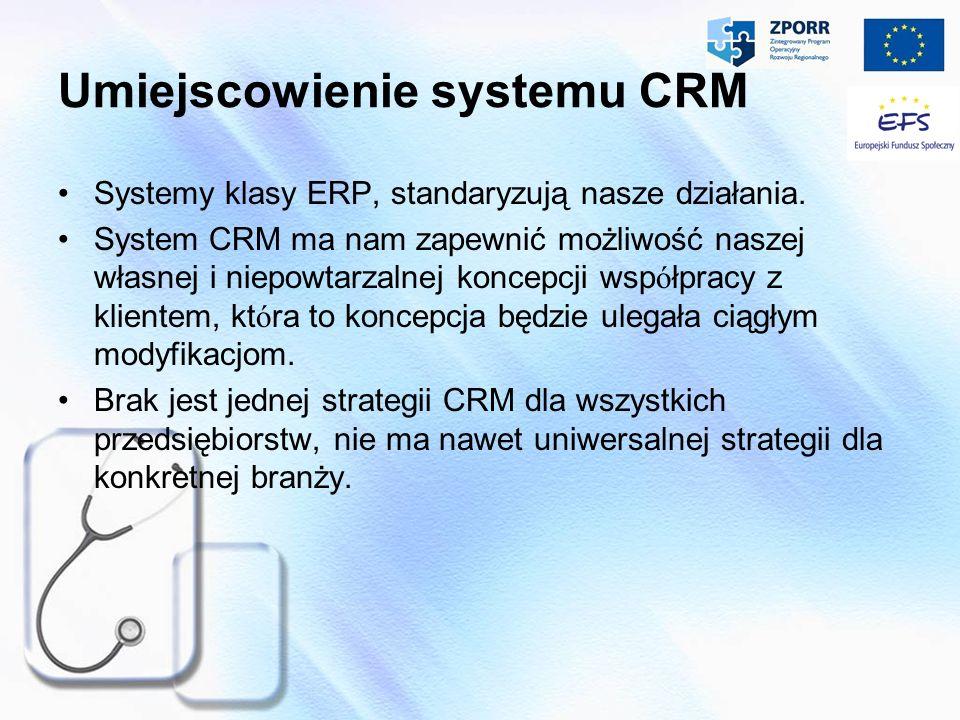 Umiejscowienie systemu CRM Systemy klasy ERP, standaryzują nasze działania. System CRM ma nam zapewnić możliwość naszej własnej i niepowtarzalnej konc