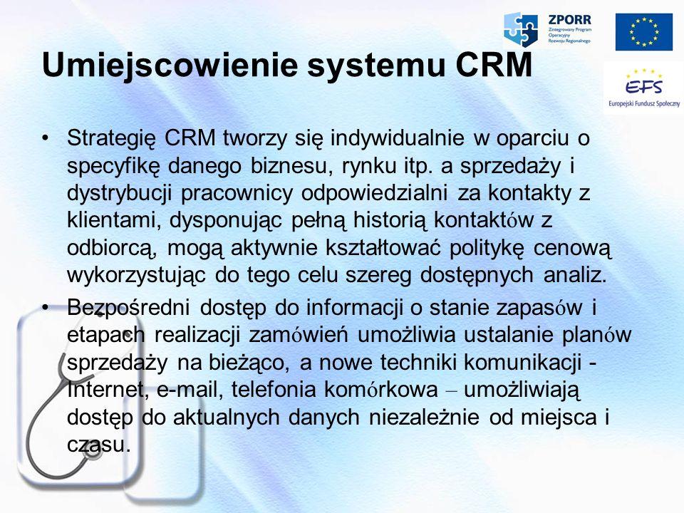 Umiejscowienie systemu CRM Strategię CRM tworzy się indywidualnie w oparciu o specyfikę danego biznesu, rynku itp. a sprzedaży i dystrybucji pracownic