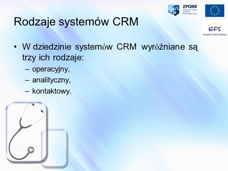 Rodzaje systemów CRM W dziedzinie system ó w CRM wyr ó żniane są trzy ich rodzaje: –operacyjny, –analityczny, –kontaktowy.