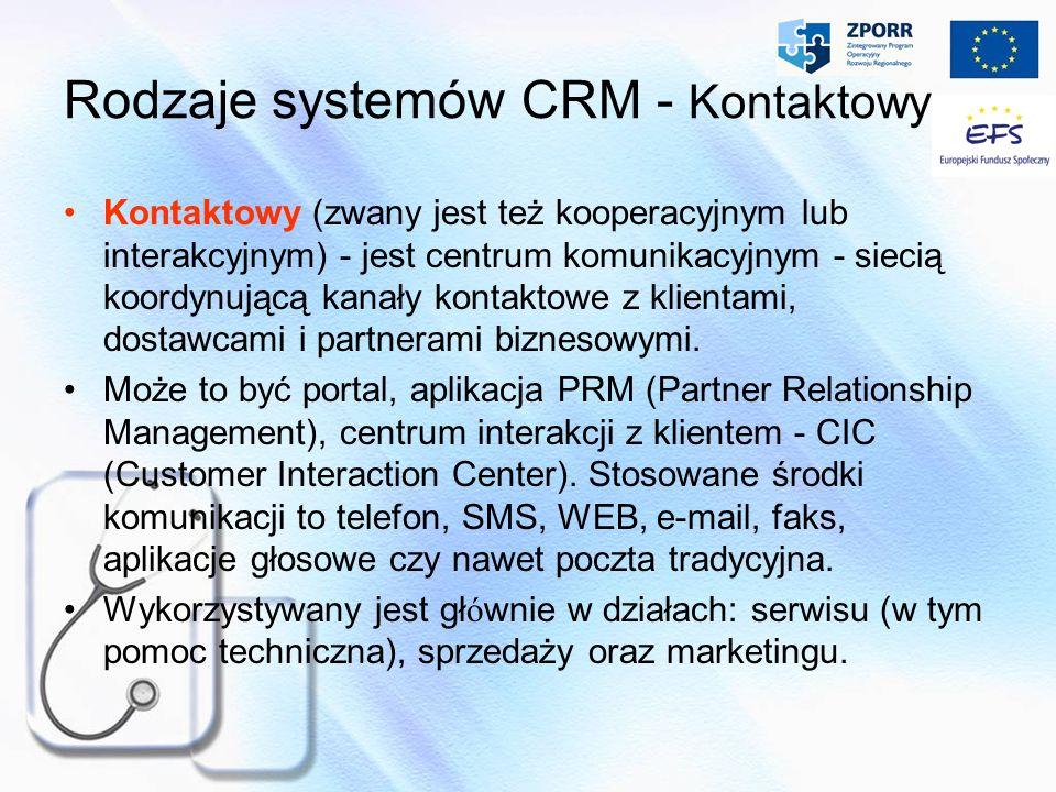 Rodzaje systemów CRM - Kontaktowy Kontaktowy (zwany jest też kooperacyjnym lub interakcyjnym) - jest centrum komunikacyjnym - siecią koordynującą kana