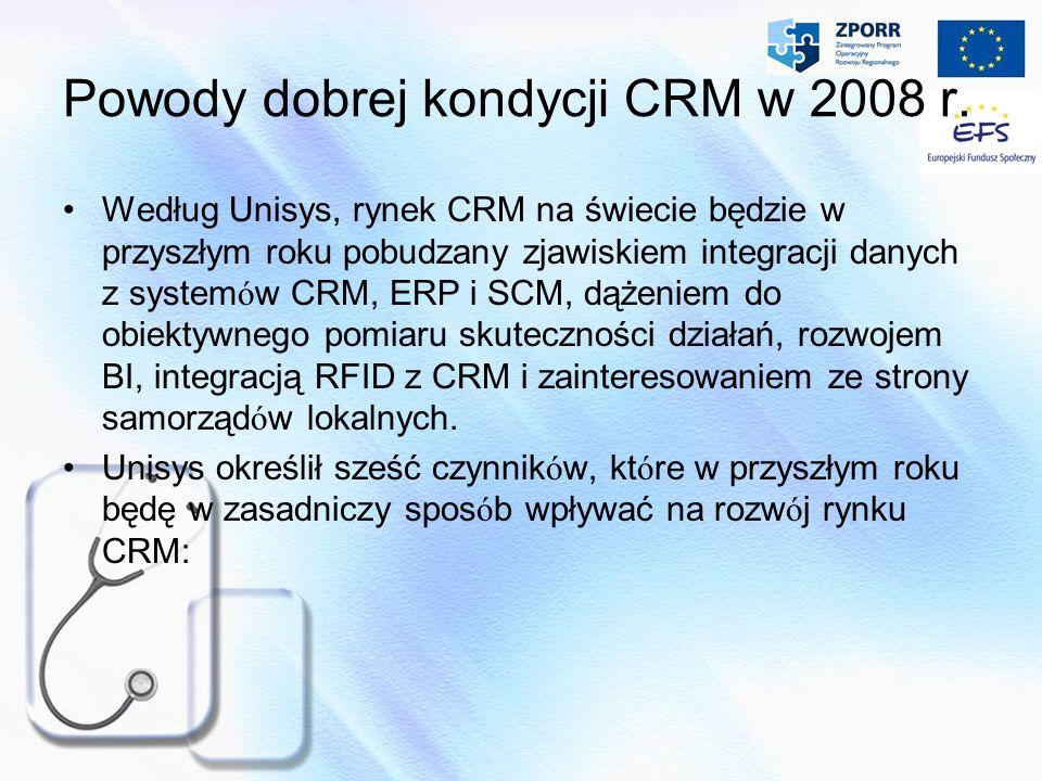 Powody dobrej kondycji CRM w 2008 r. Według Unisys, rynek CRM na świecie będzie w przyszłym roku pobudzany zjawiskiem integracji danych z system ó w C