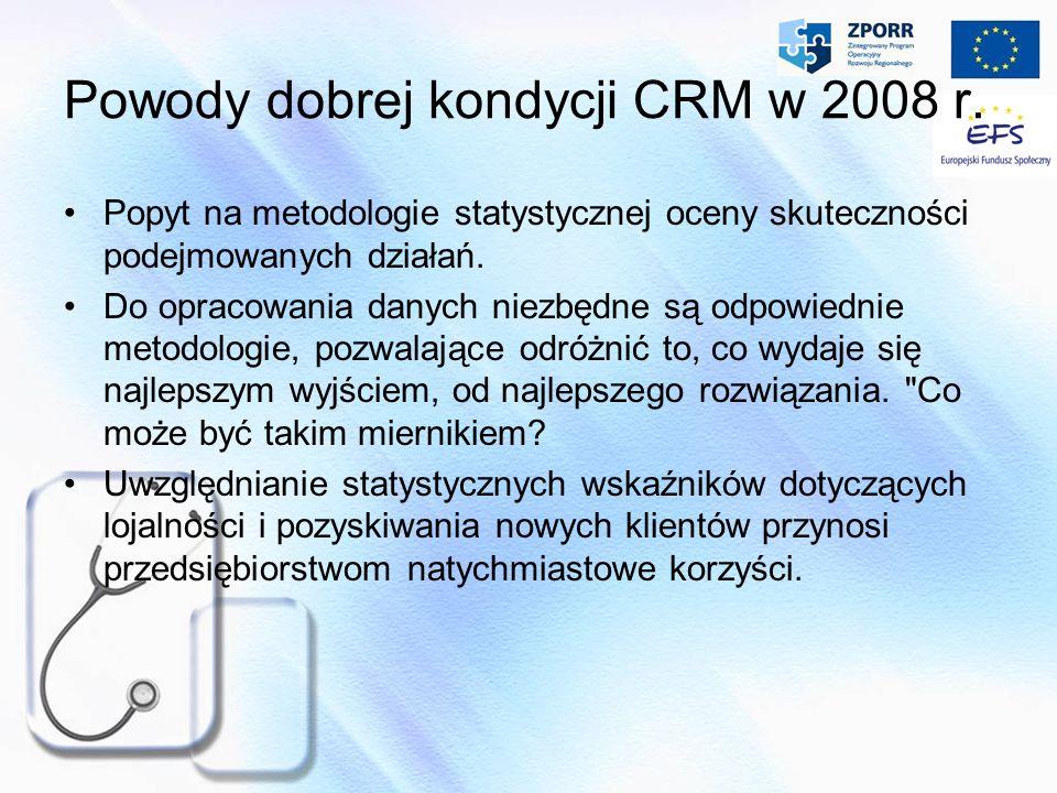 Powody dobrej kondycji CRM w 2008 r. Popyt na metodologie statystycznej oceny skuteczności podejmowanych działań. Do opracowania danych niezbędne są o