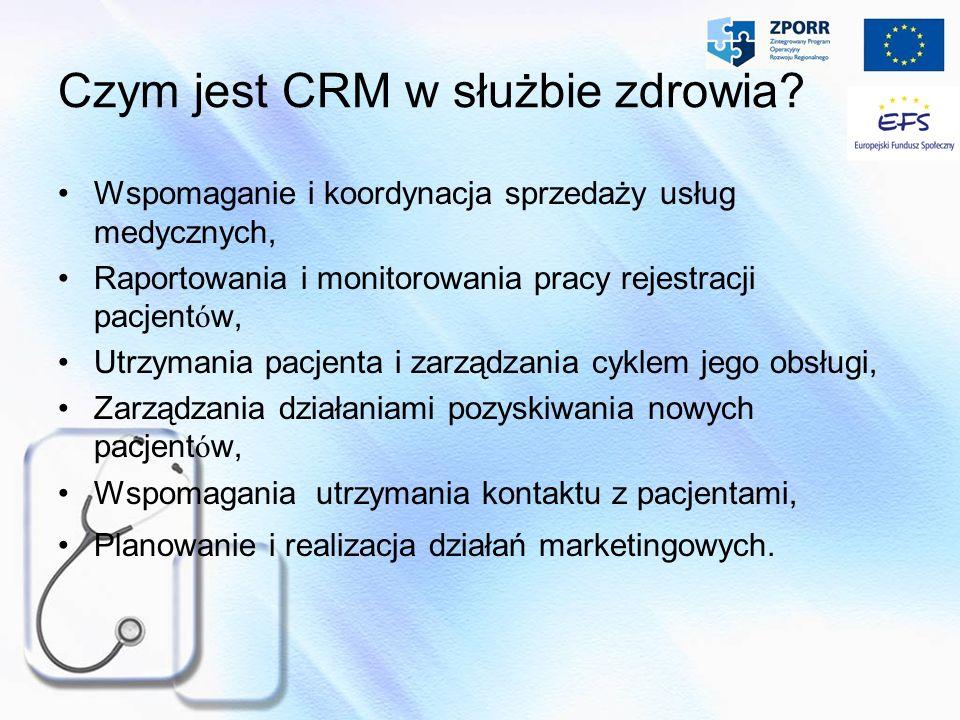Czym jest CRM w służbie zdrowia? Wspomaganie i koordynacja sprzedaży usług medycznych, Raportowania i monitorowania pracy rejestracji pacjent ó w, Utr