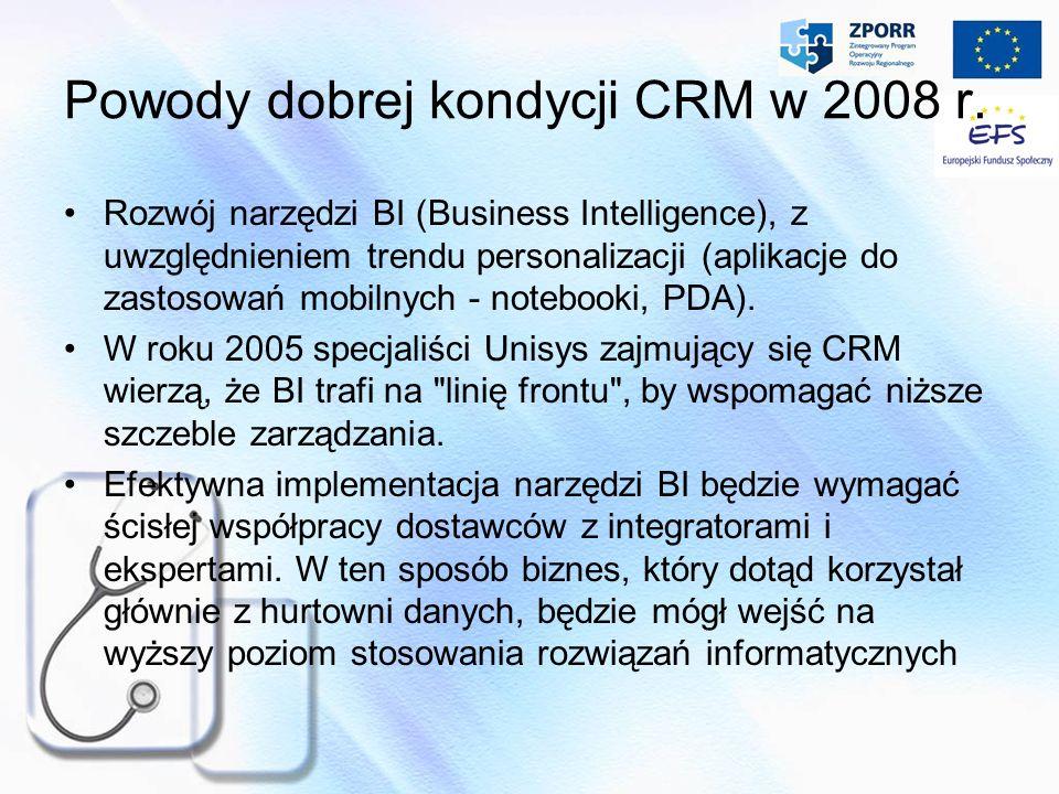 Powody dobrej kondycji CRM w 2008 r. Rozwój narzędzi BI (Business Intelligence), z uwzględnieniem trendu personalizacji (aplikacje do zastosowań mobil