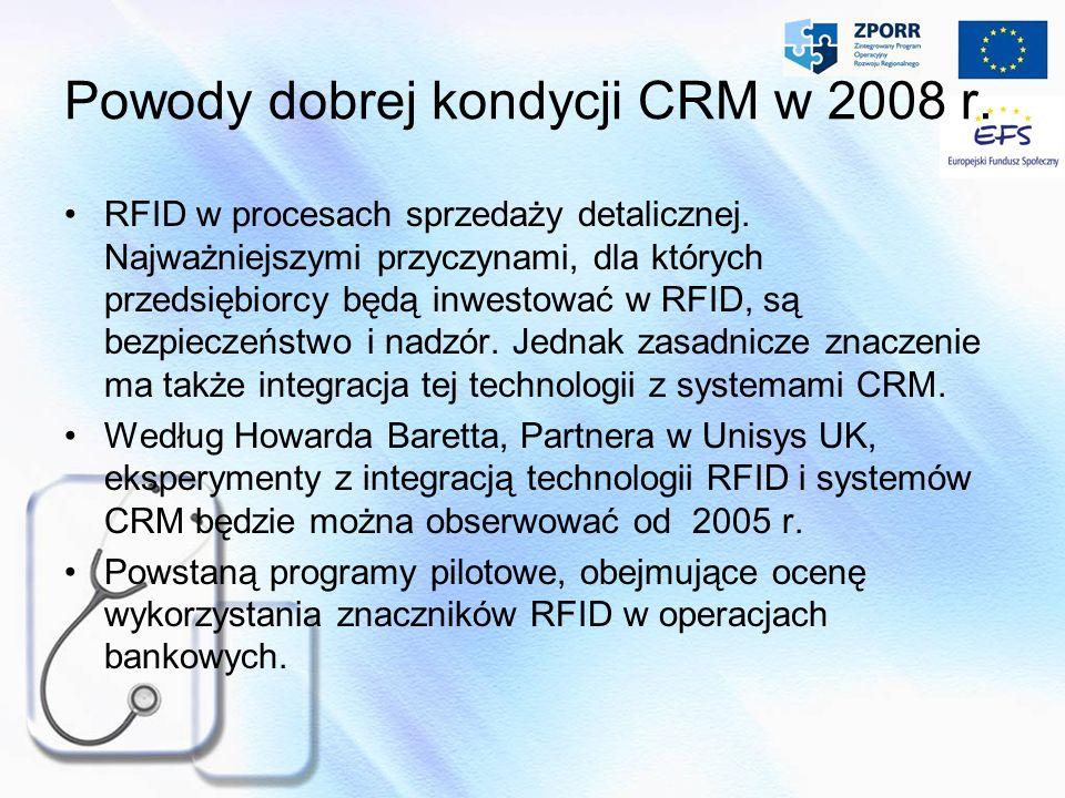 Powody dobrej kondycji CRM w 2008 r. RFID w procesach sprzedaży detalicznej. Najważniejszymi przyczynami, dla których przedsiębiorcy będą inwestować w