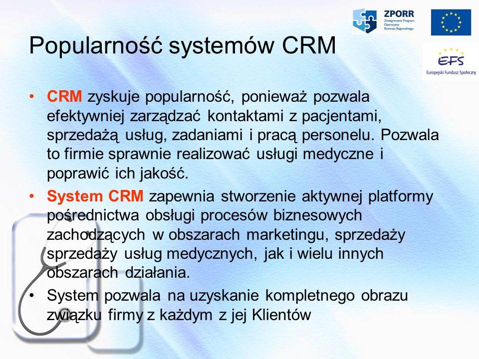 Popularność systemów CRM CRM zyskuje popularność, ponieważ pozwala efektywniej zarządzać kontaktami z pacjentami, sprzedażą usług, zadaniami i pracą p
