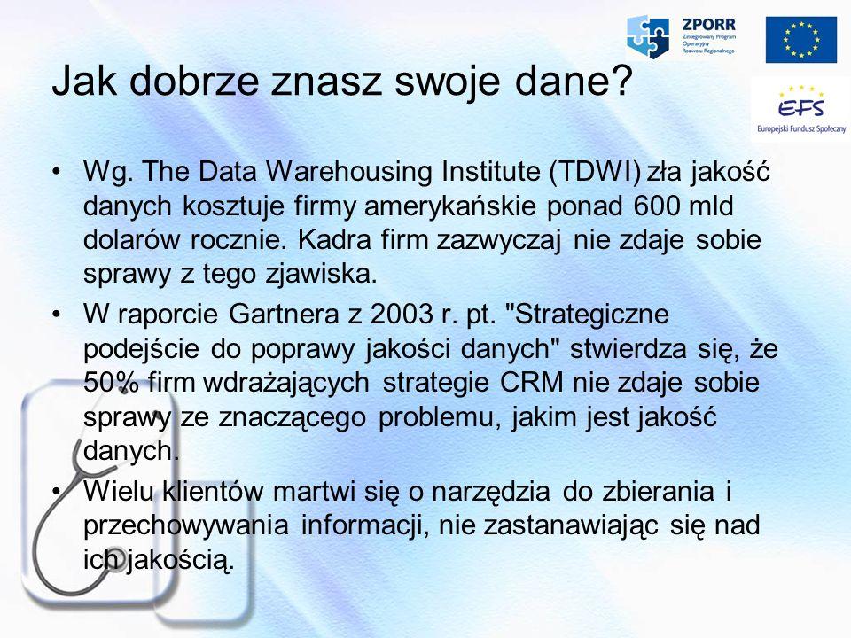 Jak dobrze znasz swoje dane? Wg. The Data Warehousing Institute (TDWI) zła jakość danych kosztuje firmy amerykańskie ponad 600 mld dolar ó w rocznie.