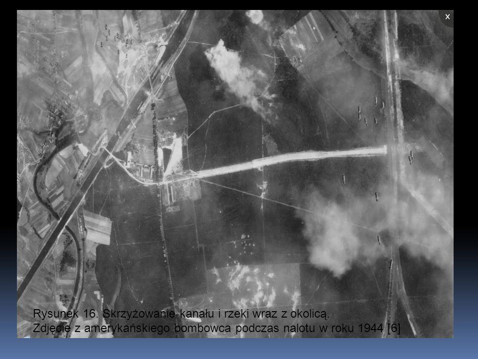 Rysunek 16. Skrzyżowanie kanału i rzeki wraz z okolicą. Zdjęcie z amerykańskiego bombowca podczas nalotu w roku 1944 [6]