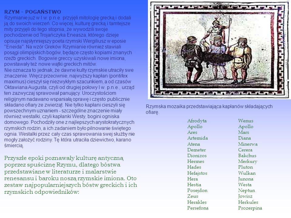 Religie rzymskie - I w.p.n.e. RZYM - POGAŃSTWO Rzymianie już w I w.