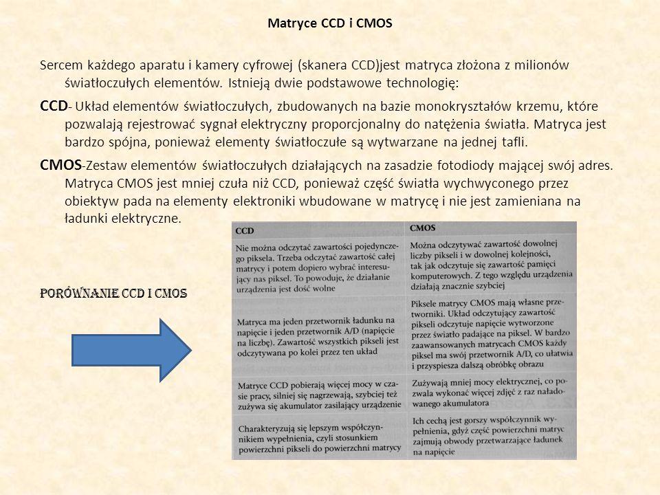 Matryce CCD i CMOS Sercem każdego aparatu i kamery cyfrowej (skanera CCD)jest matryca złożona z milionów światłoczułych elementów. Istnieją dwie podst