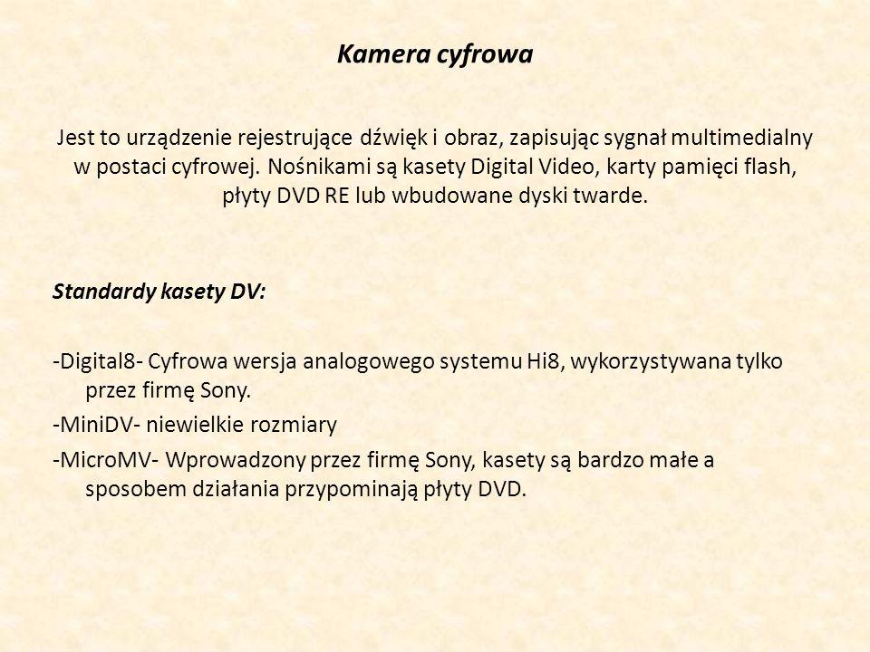 Podstawowe elementy kamery cyfrowej: - Przetwornik obrazu- Najczęściej są to matryce CCD lub CMOS.