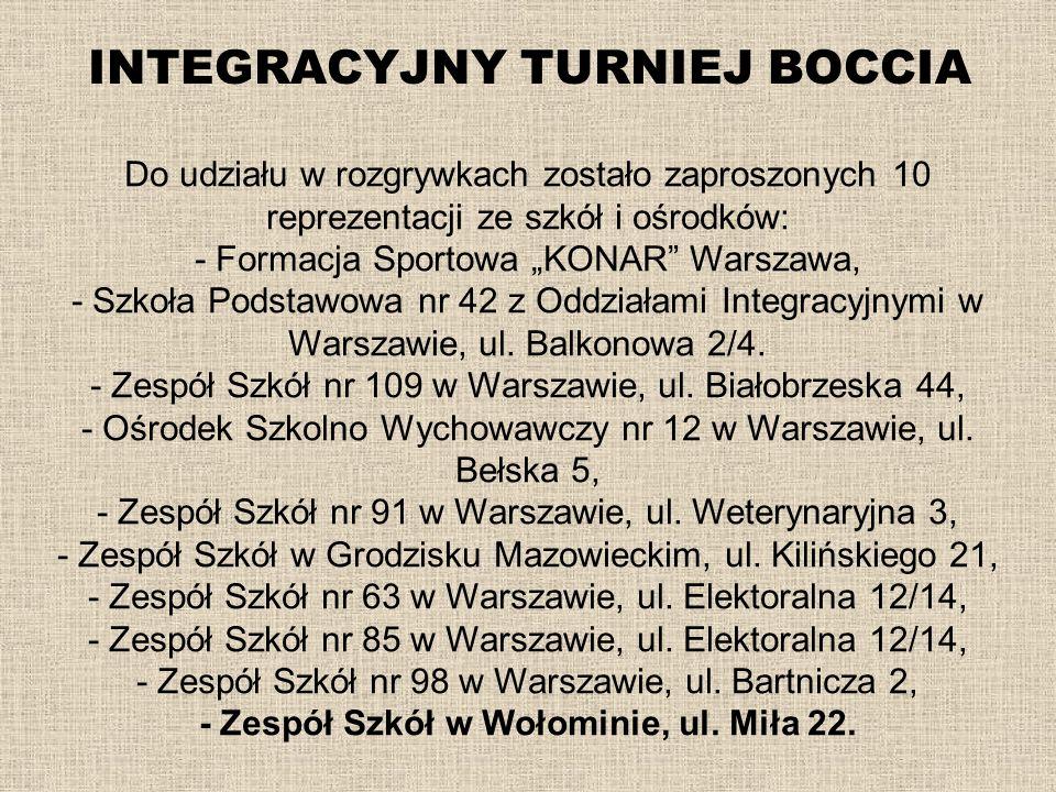 INTEGRACYJNY TURNIEJ BOCCIA Do udziału w rozgrywkach zostało zaproszonych 10 reprezentacji ze szkół i ośrodków: - Formacja Sportowa KONAR Warszawa, -