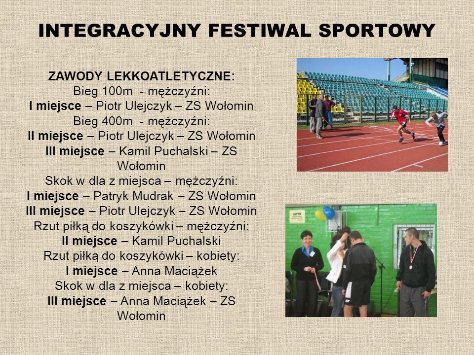 INTEGRACYJNY FESTIWAL SPORTOWY ZAWODY LEKKOATLETYCZNE: Bieg 100m - mężczyźni: I miejsce – Piotr Ulejczyk – ZS Wołomin Bieg 400m - mężczyźni: II miejsc