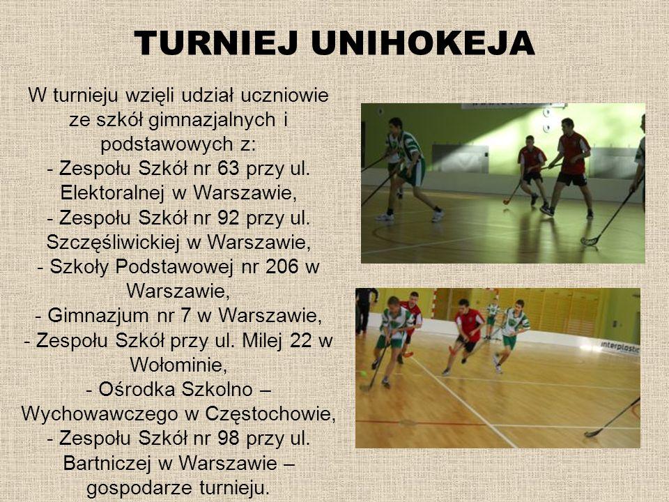 TURNIEJ UNIHOKEJA W turnieju wzięli udział uczniowie ze szkół gimnazjalnych i podstawowych z: - Zespołu Szkół nr 63 przy ul. Elektoralnej w Warszawie,