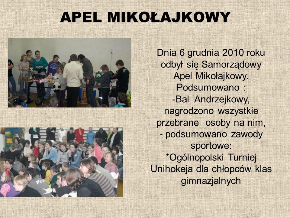 APEL MIKOŁAJKOWY Dnia 6 grudnia 2010 roku odbył się Samorządowy Apel Mikołajkowy. Podsumowano : -Bal Andrzejkowy, nagrodzono wszystkie przebrane osoby