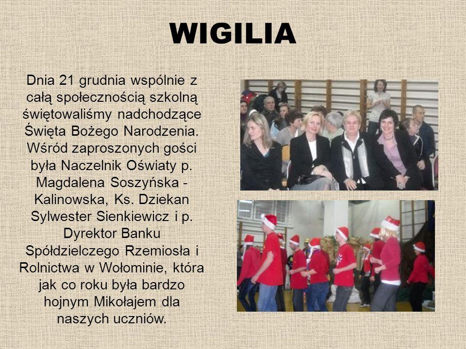 WIGILIA Dnia 21 grudnia wspólnie z całą społecznością szkolną świętowaliśmy nadchodzące Święta Bożego Narodzenia. Wśród zaproszonych gości była Naczel