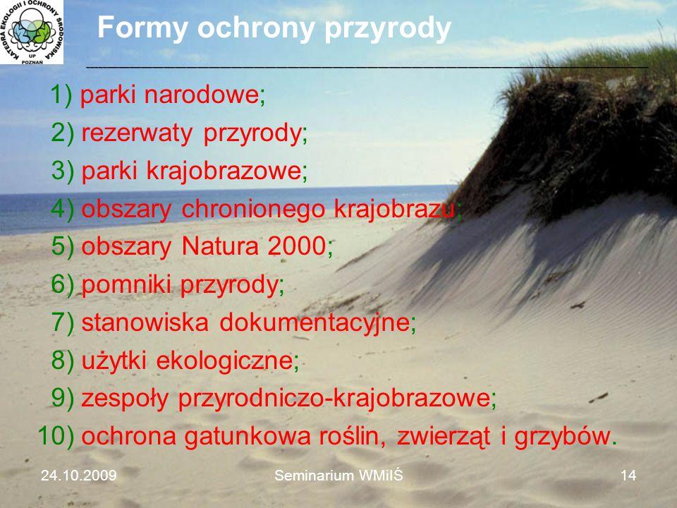 Formy ochrony przyrody 1) parki narodowe; 2) rezerwaty przyrody; 3) parki krajobrazowe; 4) obszary chronionego krajobrazu; 5) obszary Natura 2000; 6)