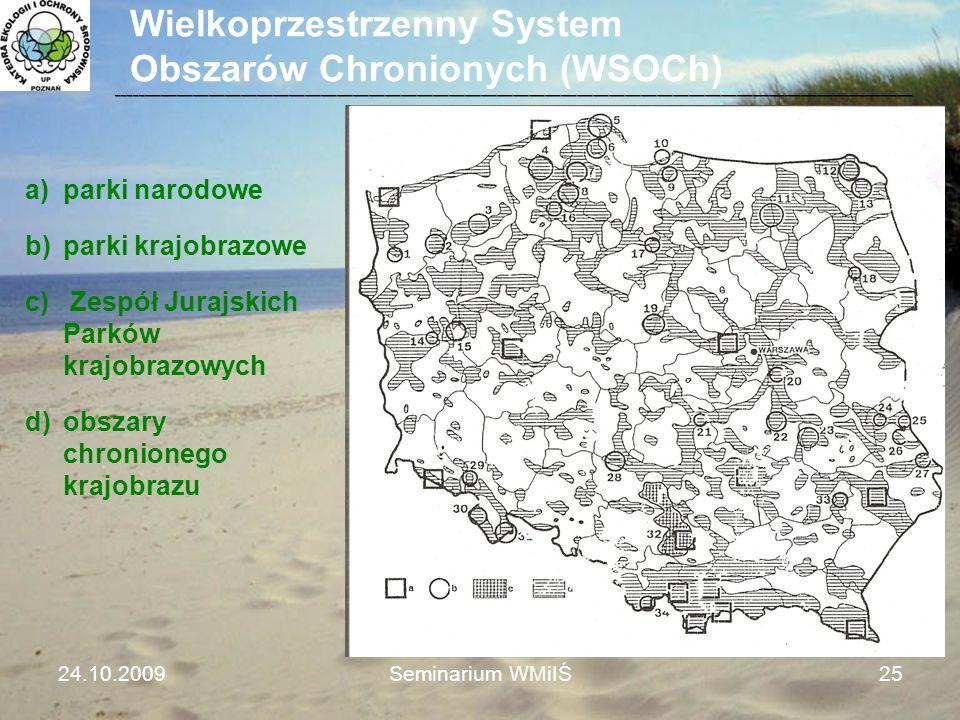 Wielkoprzestrzenny System Obszarów Chronionych (WSOCh) a)parki narodowe b)parki krajobrazowe c) Zespół Jurajskich Parków krajobrazowych d)obszary chro