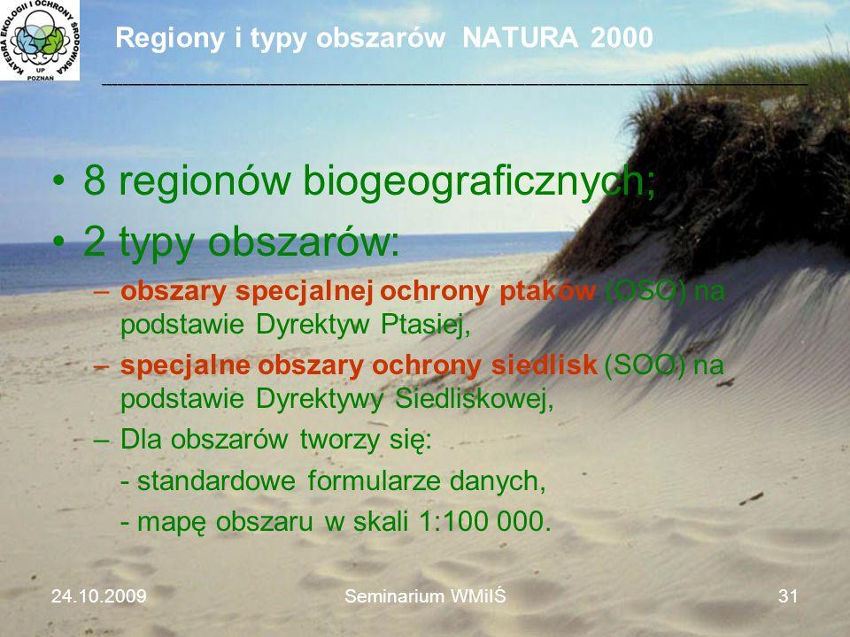 Regiony i typy obszarów NATURA 2000 24.10.2009Seminarium WMiIŚ31 8 regionów biogeograficznych; 2 typy obszarów: –obszary specjalnej ochrony ptaków (OS