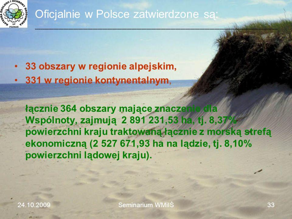 Oficjalnie w Polsce zatwierdzone są: 33 obszary w regionie alpejskim, 331 w regionie kontynentalnym, łącznie 364 obszary mające znaczenie dla Wspólnot