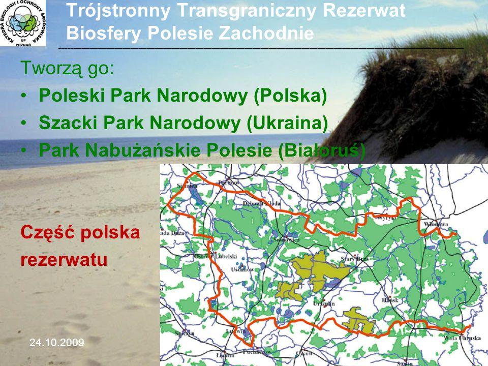 Trójstronny Transgraniczny Rezerwat Biosfery Polesie Zachodnie Tworzą go: Poleski Park Narodowy (Polska) Szacki Park Narodowy (Ukraina) Park Nabużańsk