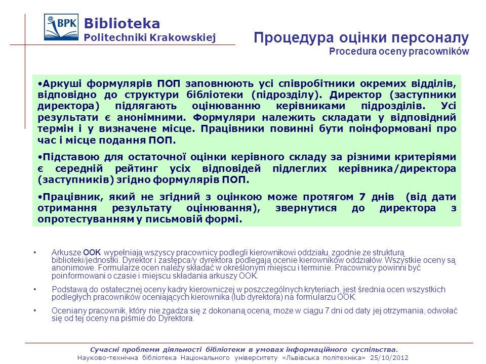Biblioteka Politechniki Krakowskiej Arkusze OOK wypełniają wszyscy pracownicy podlegli kierownikowi oddziału, zgodnie ze strukturą biblioteki/jednostk