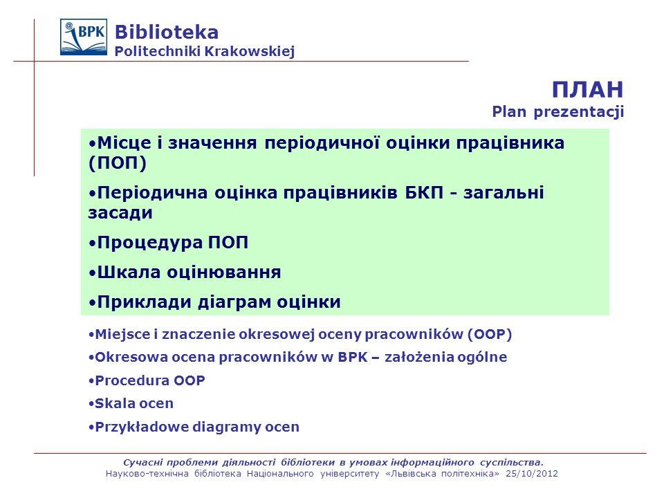 Biblioteka Politechniki Krakowskiej Arkusze OOK wypełniają wszyscy pracownicy podlegli kierownikowi oddziału, zgodnie ze strukturą biblioteki/jednostki.