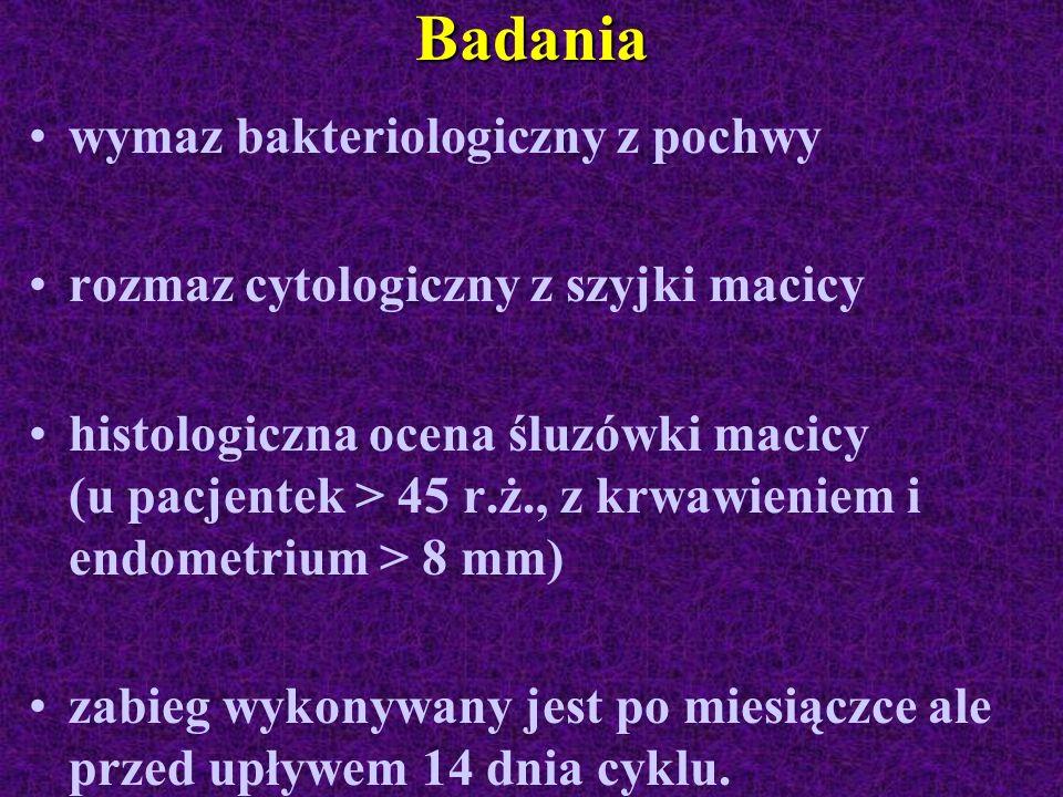 Badania wymaz bakteriologiczny z pochwy rozmaz cytologiczny z szyjki macicy histologiczna ocena śluzówki macicy (u pacjentek > 45 r.ż., z krwawieniem
