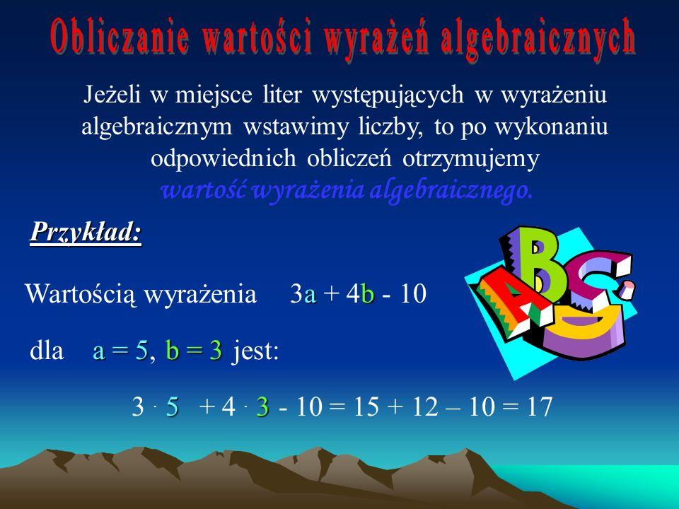 Wyrażenia algebraiczne, to takie wyrażenia, w których występują liczby, litery i znaki działań. Przykłady: 4 + m (x – y) + 5 8a : 2 Zapis: 3a oznacza
