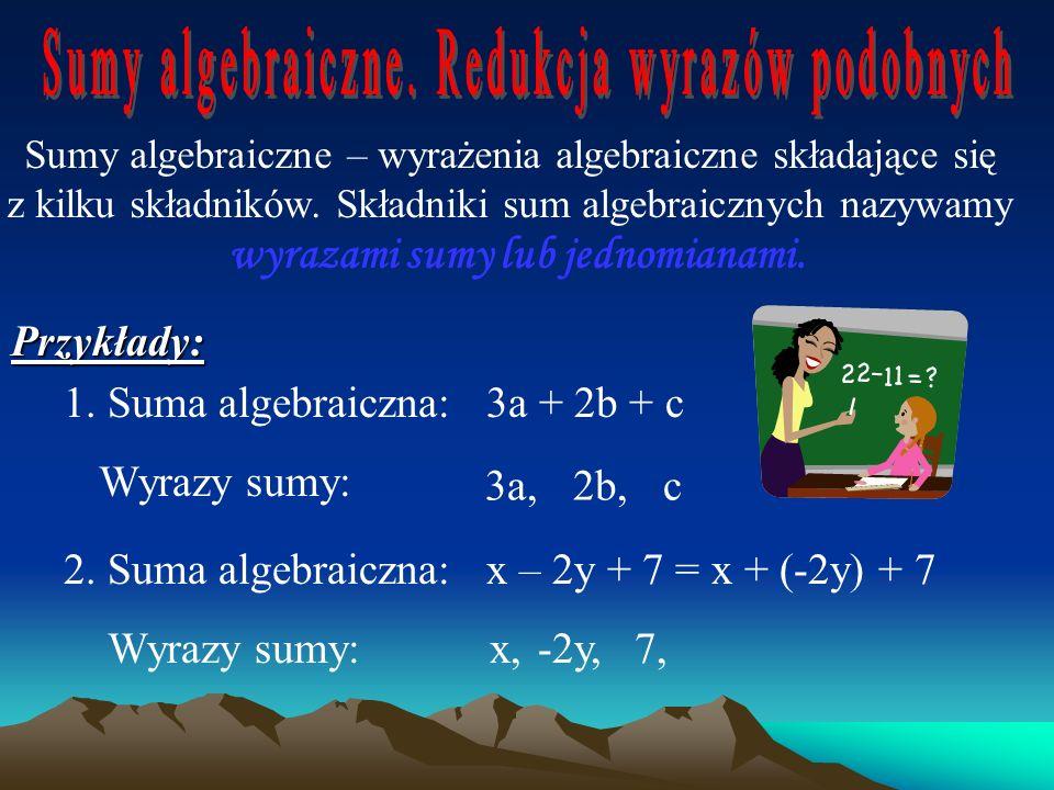 Jeżeli w miejsce liter występujących w wyrażeniu algebraicznym wstawimy liczby, to po wykonaniu odpowiednich obliczeń otrzymujemy wartość wyrażenia al