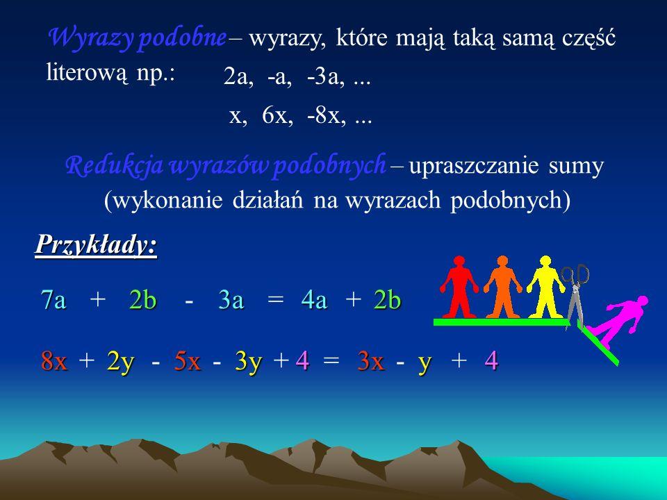Sumy algebraiczne – wyrażenia algebraiczne składające się z kilku składników.
