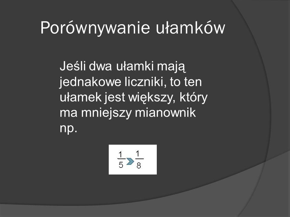 Porównywanie ułamków Jeśli dwa ułamki mają jednakowe liczniki, to ten ułamek jest większy, który ma mniejszy mianownik np.