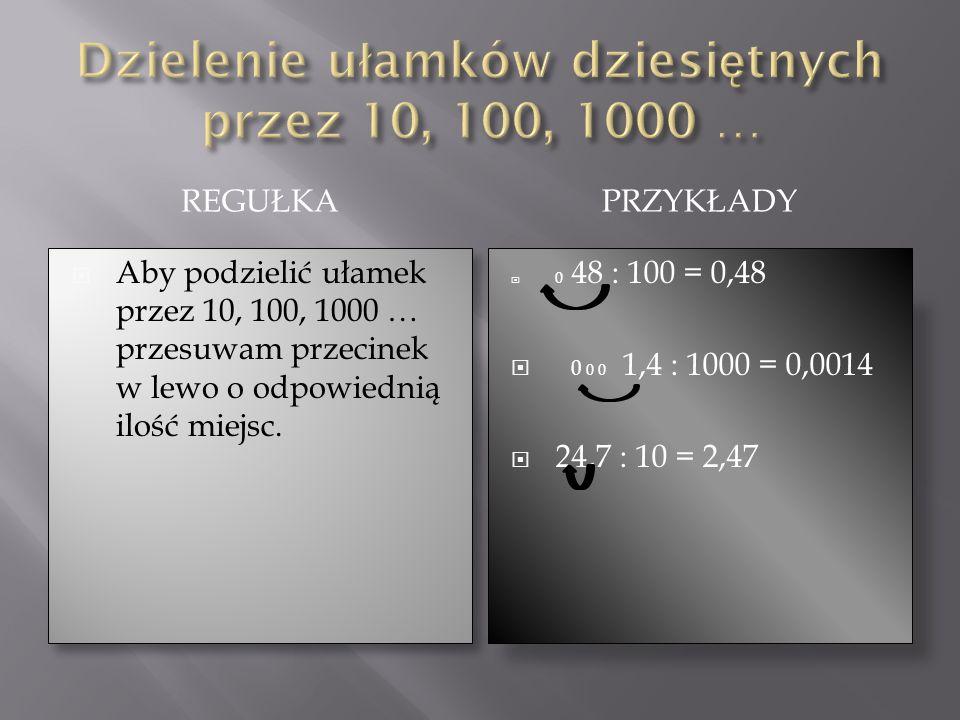 REGUŁKAPRZYKŁADY Aby podzielić ułamek przez 10, 100, 1000 … przesuwam przecinek w lewo o odpowiednią ilość miejsc. 0 48 : 100 = 0,48 0 0 0 1,4 : 1000