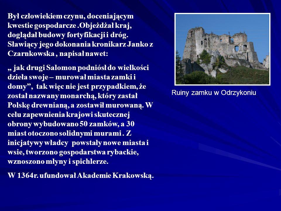 Czterokrotnie żonaty (Aldona Anna Giedyminówna, Adelajda Heska,Krystyna Rokiczana Jadwiga Żakgańska), niestety z żadna żon nie dała mu męskiego potomka, dlatego po śmierci Kazimierza na mocy wcześniejszych układów tron polski przypadł jego siostrzeńcowi, Ludwikowi Węgierskiemu.