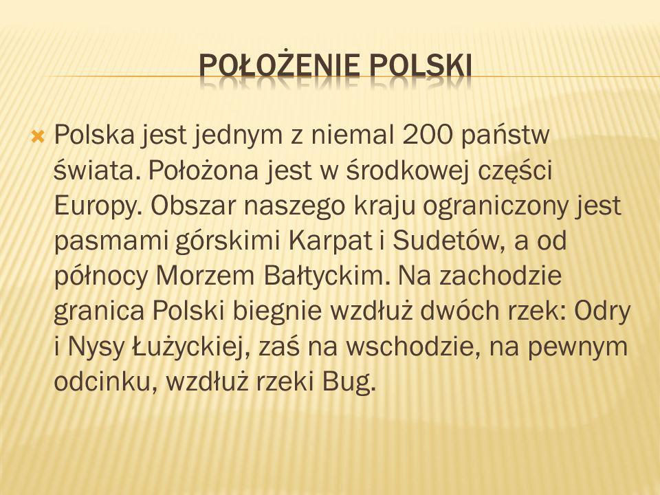 Polska jest jednym z niemal 200 państw świata. Położona jest w środkowej części Europy. Obszar naszego kraju ograniczony jest pasmami górskimi Karpat