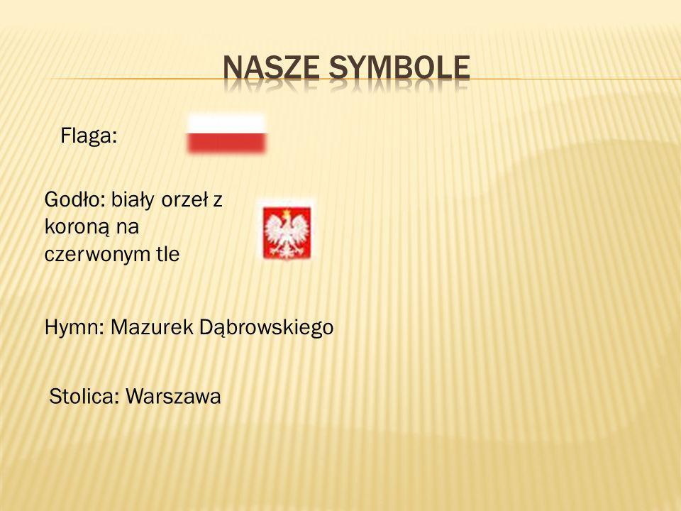 Flaga: Godło: biały orzeł z koroną na czerwonym tle Hymn: Mazurek Dąbrowskiego Stolica: Warszawa