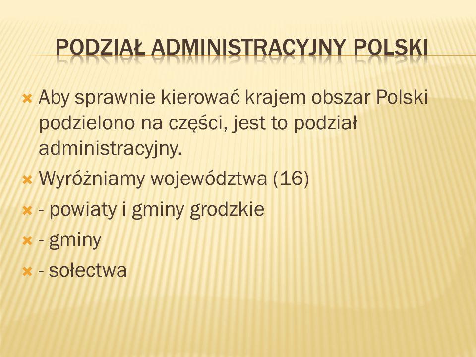 Aby sprawnie kierować krajem obszar Polski podzielono na części, jest to podział administracyjny. Wyróżniamy województwa (16) - powiaty i gminy grodzk