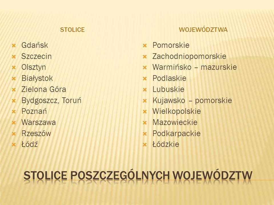 STOLICEWOJEWÓDZTWA Gdańsk Szczecin Olsztyn Białystok Zielona Góra Bydgoszcz, Toruń Poznań Warszawa Rzeszów Łódź Pomorskie Zachodniopomorskie Warmińsko
