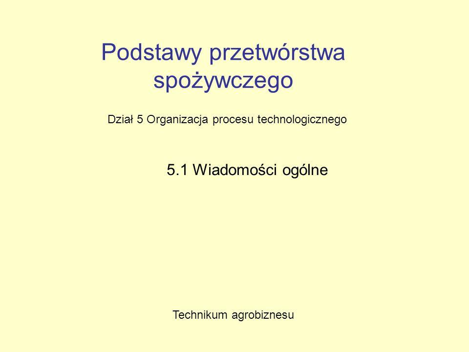 Podstawy przetwórstwa spożywczego Dział 5 Organizacja procesu technologicznego 5.1 Wiadomości ogólne Technikum agrobiznesu