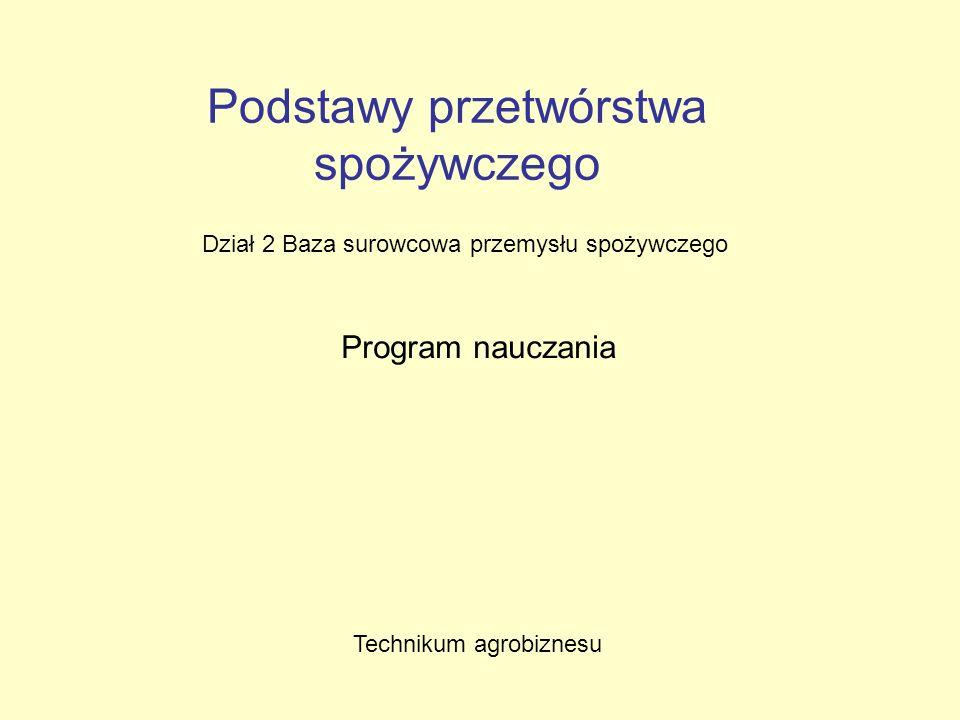 Podstawy przetwórstwa spożywczego Dział 2 Baza surowcowa przemysłu spożywczego Program nauczania Technikum agrobiznesu