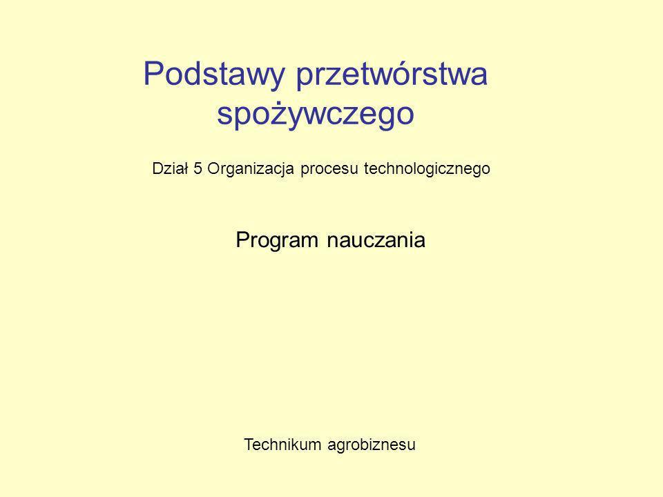 Podstawy przetwórstwa spożywczego Dział 5 Organizacja procesu technologicznego Program nauczania Technikum agrobiznesu