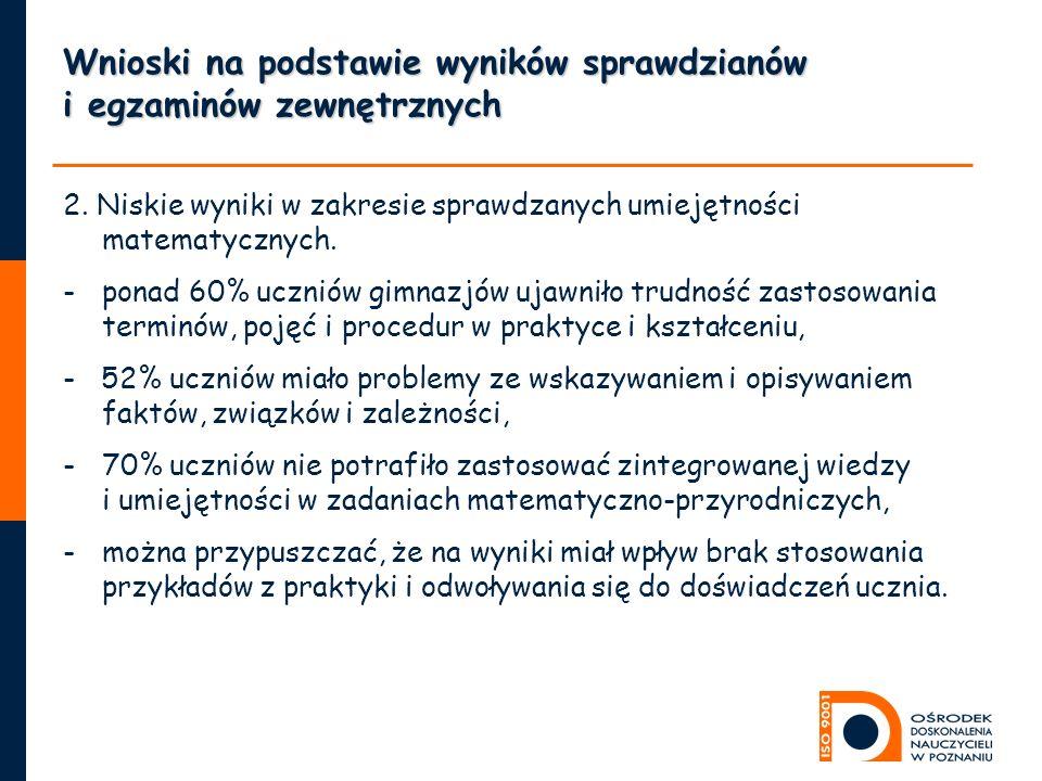 Wnioski na podstawie wyników sprawdzianów i egzaminów zewnętrznych 2.