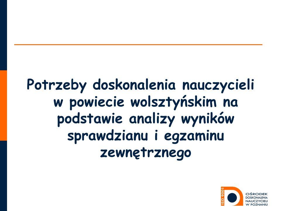 Potrzeby doskonalenia nauczycieli w powiecie wolsztyńskim na podstawie analizy wyników sprawdzianu i egzaminu zewnętrznego