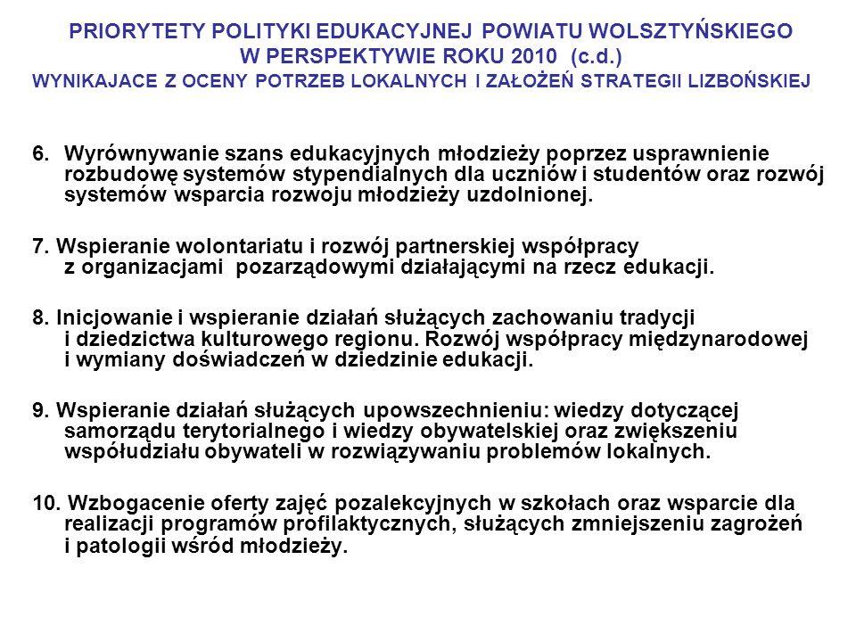 PRIORYTETY POLITYKI EDUKACYJNEJ POWIATU WOLSZTYŃSKIEGO W PERSPEKTYWIE ROKU 2010 (c.d.) WYNIKAJACE Z OCENY POTRZEB LOKALNYCH I ZAŁOŻEŃ STRATEGII LIZBOŃ