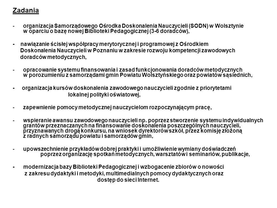 Zadania -organizacja Samorządowego Ośrodka Doskonalenia Nauczycieli (SODN) w Wolsztynie w oparciu o bazę nowej Biblioteki Pedagogicznej (3-6 doradców)