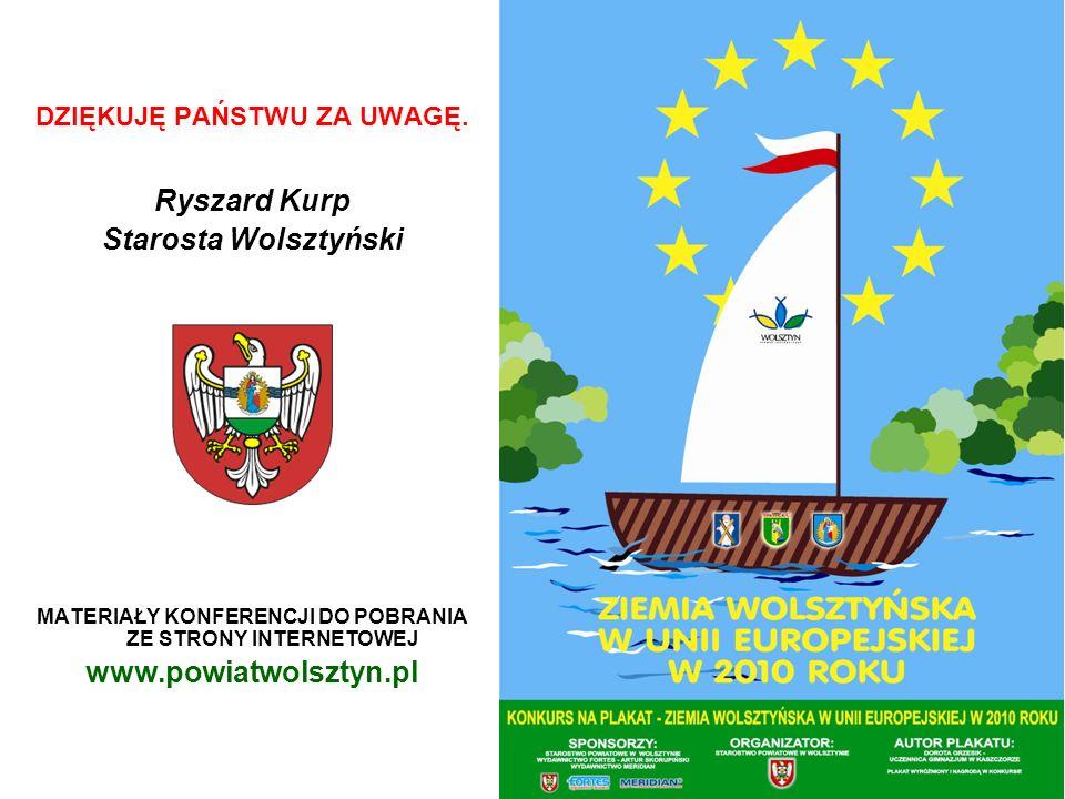 DZIĘKUJĘ PAŃSTWU ZA UWAGĘ. Ryszard Kurp Starosta Wolsztyński MATERIAŁY KONFERENCJI DO POBRANIA ZE STRONY INTERNETOWEJ www.powiatwolsztyn.pl