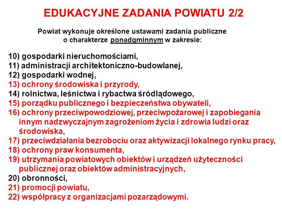 EDUKACYJNE ZADANIA POWIATU 2/2 Powiat wykonuje określone ustawami zadania publiczne o charakterze ponadgminnym w zakresie: 10) gospodarki nieruchomośc