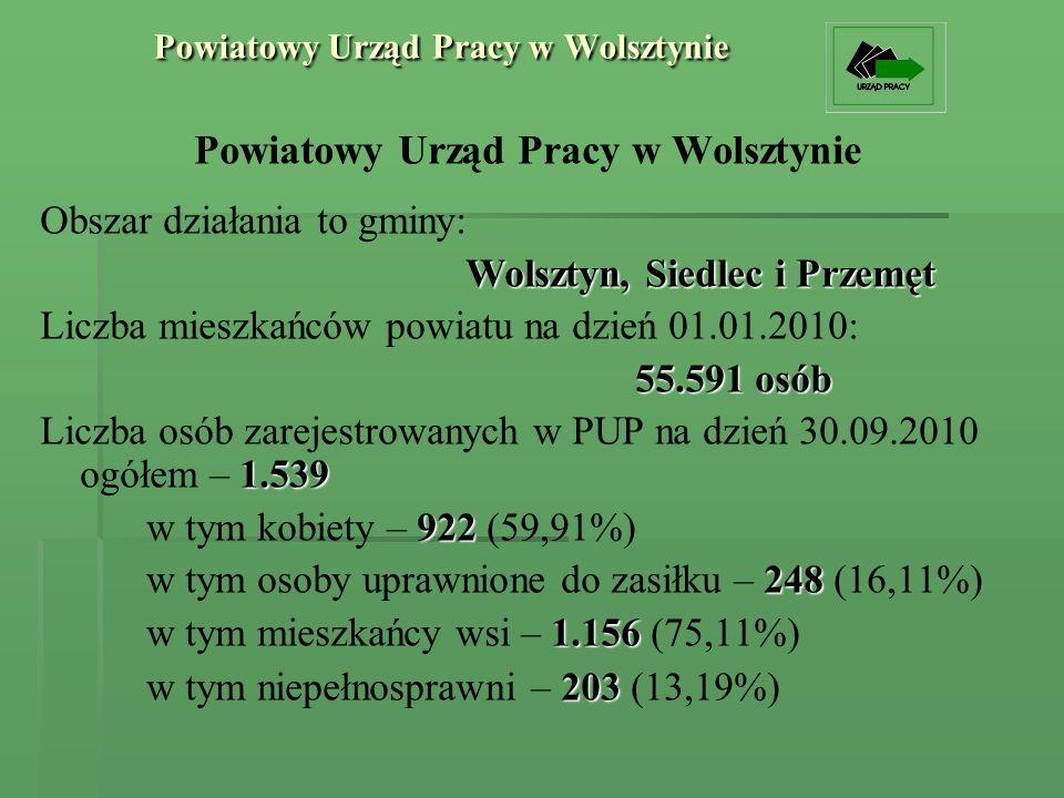 Powiatowy Urząd Pracy w Wolsztynie Obszar działania to gminy: Wolsztyn, Siedlec i Przemęt Liczba mieszkańców powiatu na dzień 01.01.2010: 55.591 osób 1.539 Liczba osób zarejestrowanych w PUP na dzień 30.09.2010 ogółem – 1.539 922 w tym kobiety – 922 (59,91%) 248 w tym osoby uprawnione do zasiłku – 248 (16,11%) 1.156 w tym mieszkańcy wsi – 1.156 (75,11%) 203 w tym niepełnosprawni – 203 (13,19%)