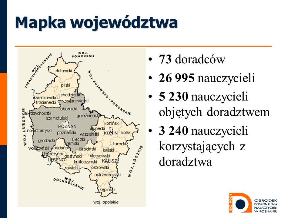 Mapka województwa 73 doradców 26 995 nauczycieli 5 230 nauczycieli objętych doradztwem 3 240 nauczycieli korzystających z doradztwa