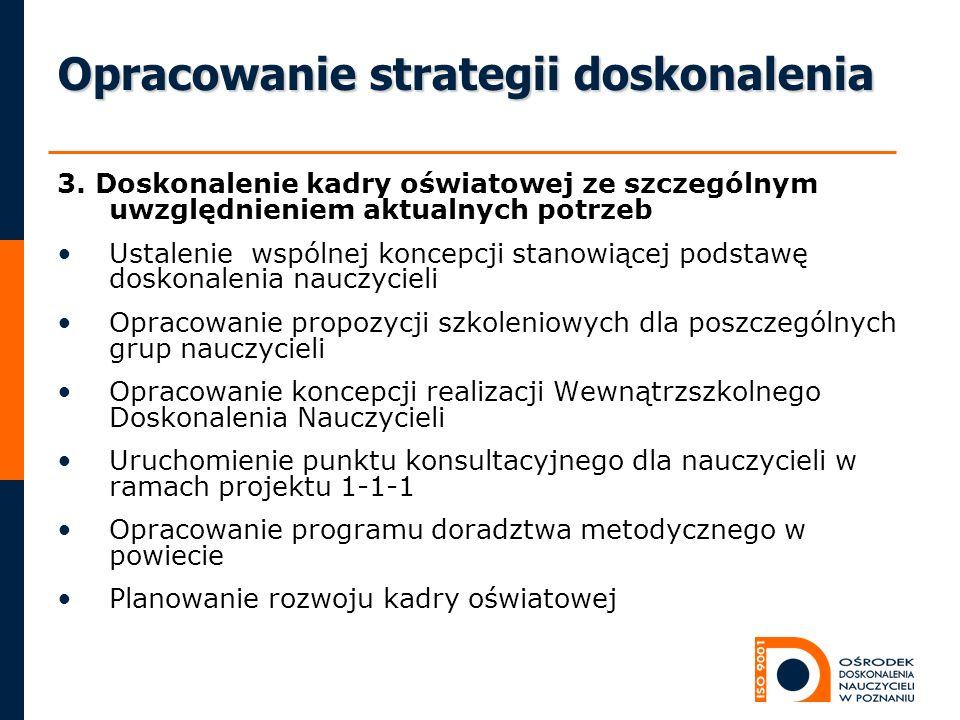 Opracowanie strategii doskonalenia 3. Doskonalenie kadry oświatowej ze szczególnym uwzględnieniem aktualnych potrzeb Ustalenie wspólnej koncepcji stan